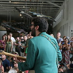 Sat, 22/06/2013 - 4:19pm - New York City's Lucius performs under the giant Phoenix at MASS MoCA. Photo by Laura Fedele