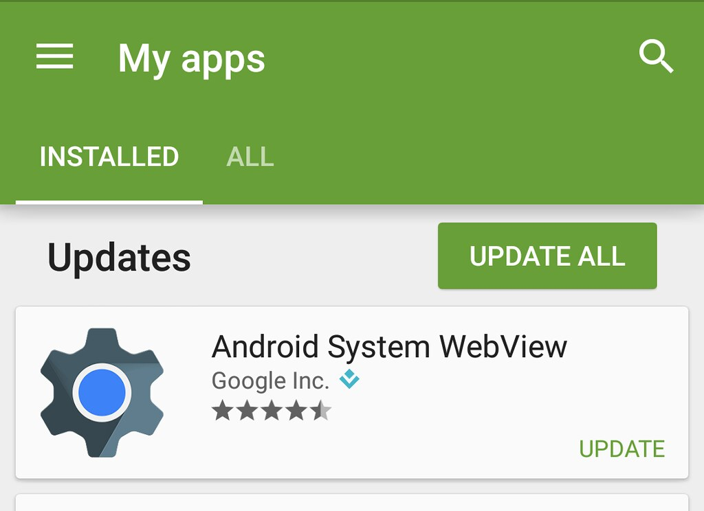 Android System WebView update