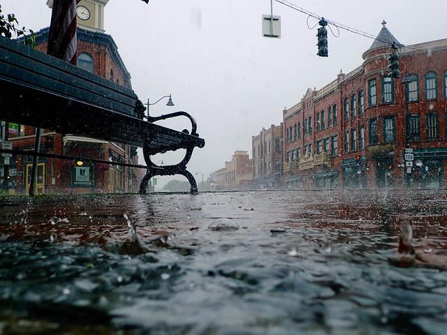 Rainy day at the main intersection