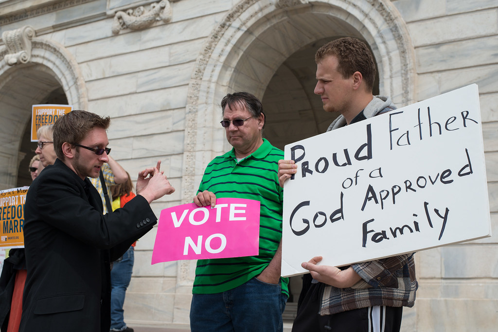 Debate on the Minnesota capitol steps about the same sex marriage vote in the state Senate