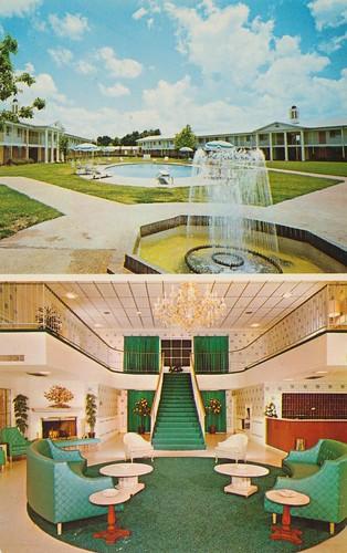 fountain alexandria vintage louisiana postcard motel ramadainn dualview lobbyview