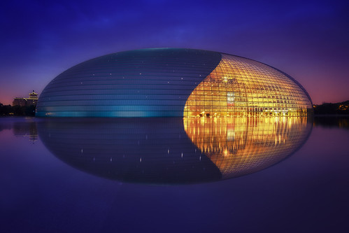 architecture asia beijing bluehour china chinese glass lights longexposure metal modern nationalcentreofperformingarts reflection sunrise sunset twinlight pequim beijingshi cn