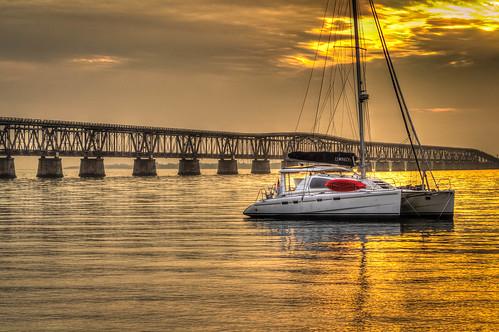 sunset catamaran hdr starsandstripes floridakeys anchored redkayak bahiahondastatepark oldbahiahondabridge