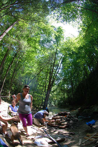 camping trees camp people woman mountain man men green creek river lens lost person nc women afternoon purple cove gray northcarolina sunny tent fisheye campsite leggings prong yogapants gragg lostcove