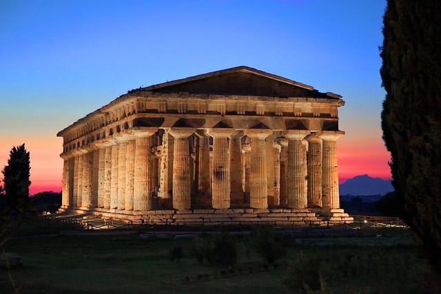 Temple of Neptune at Dusk - Paestum, Italy