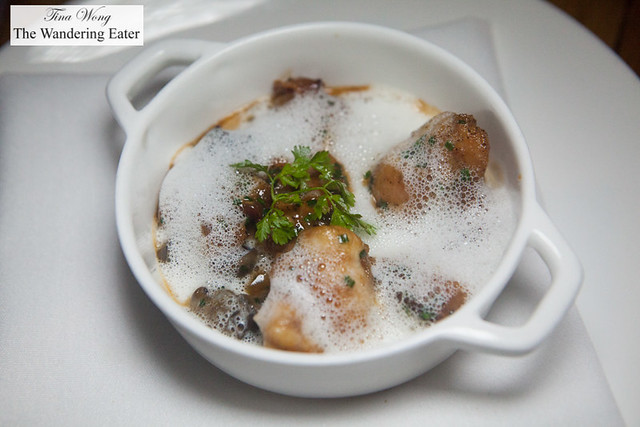 Odd Couple - Sweetbreads, escargot, bacon, roasted garlic foam