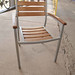 Teak stained wood outdoor chair