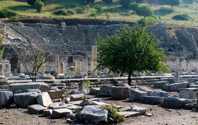 Éphèse, Turquie: l'odéon, 1400 places, II°, couvert d'un toit en bois.