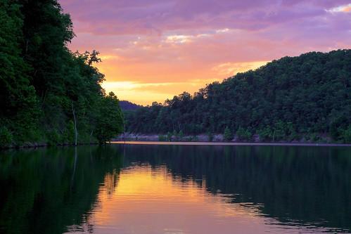 sunset red summer orange cloud lake reflection tree water canon fishing purple kentucky ky menifee caverun danielboonenationalforest dbnf