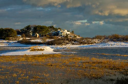 winter light sunset sky snow clouds maine newengland coastal marsh kennebunk parsonsbeach