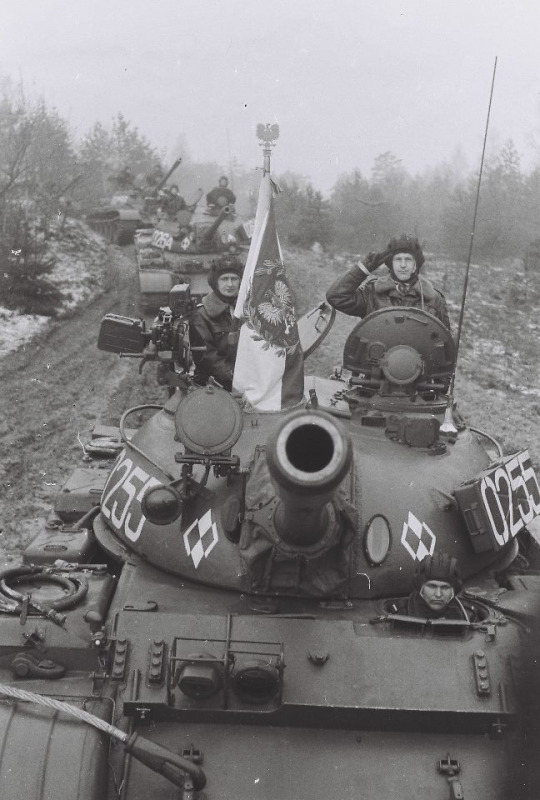 Column of polish T-55 tanks
