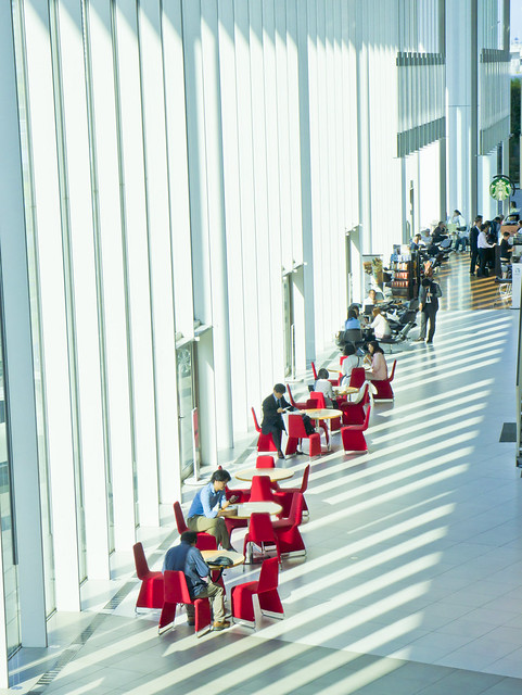 Office building with red chairs