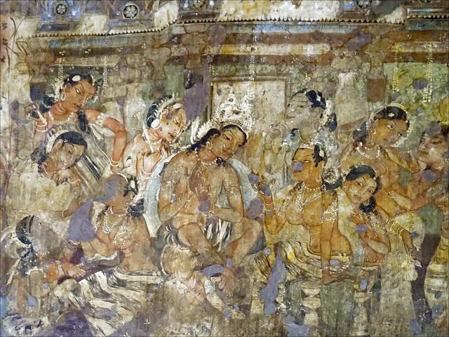 Scène du Mahajanaka Jataka (Ajanta, Inde)