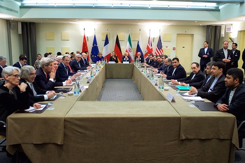 Secretary Kerry Sits with German, Chinese, European Union, French, British, and Russian Colleagues Before P5+1 Nations Resume Direct Negotiations With Iranian Officials About Future of Their Nuclear Program | by U.S. Department of State