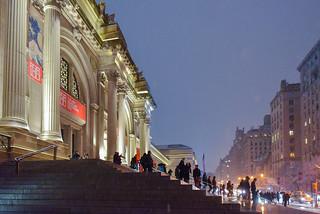 New York Street Scenes - Snowy Night Outside the Metropolitan Museum of Art on Fifth Avenue | by Steven Pisano