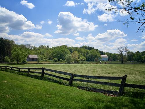 road trees sky cloud plant field grass barn fence landscape outdoor farm olympus grassland em10