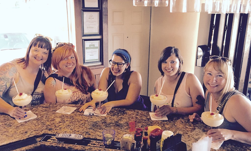 Girl Gang At Cafe On The Beach With Pina Coladas Me D
