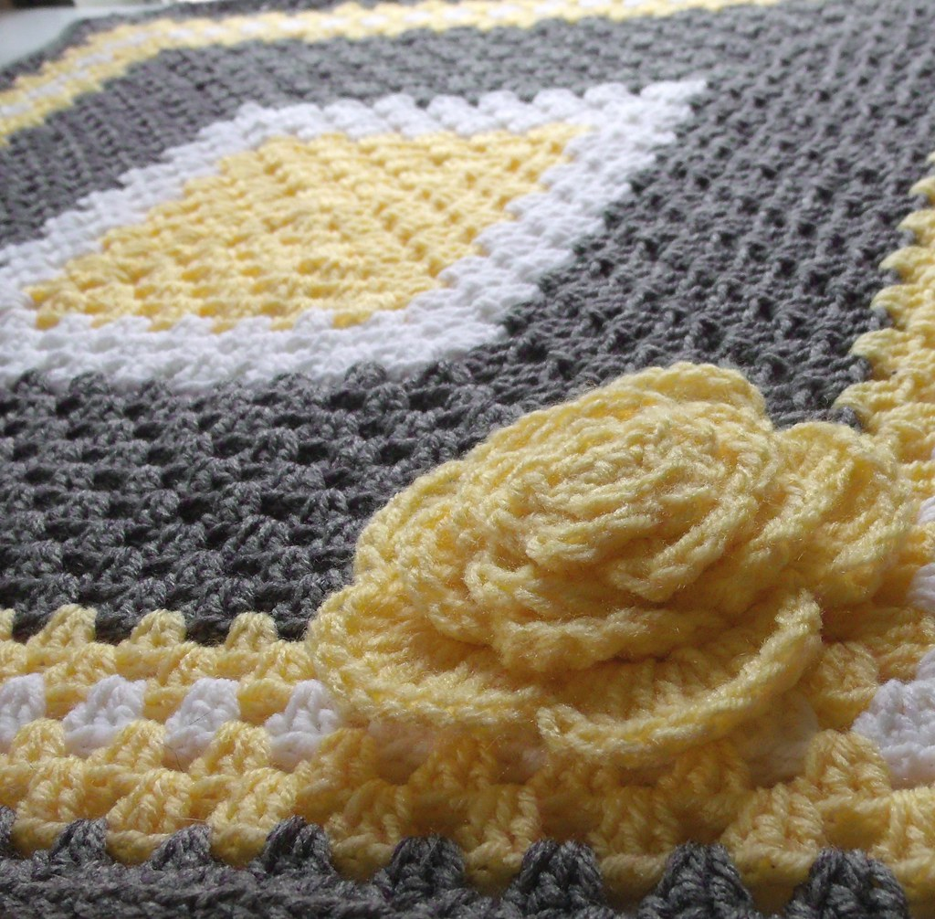 Yellow And Gray Crocheted Granny Square Baby Blanket Flickr
