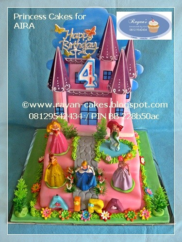 Princess Disney Birthday Cakes Fondant Kue Ulangtahun Cop