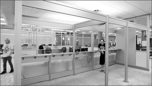 Staff at the Math Mall Monochrome