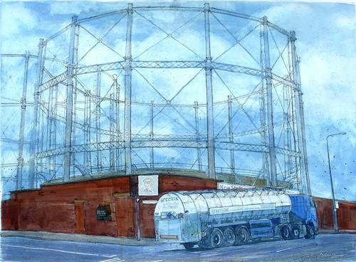 Gasworks with Tanker, Salford   by larosecarmine