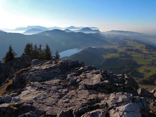View from the Schober's summit to Lake Fuschl and Gaisberg, Untersberg and the Chiemgau peaks behind