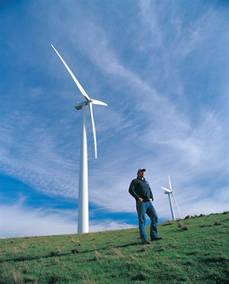 Wind farm and farmer | by Beyond Coal and Gas