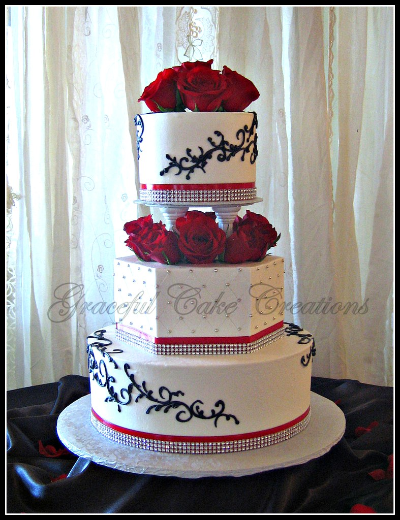 Elegant White Wedding Cake With Red Black And Bling Accen Flickr