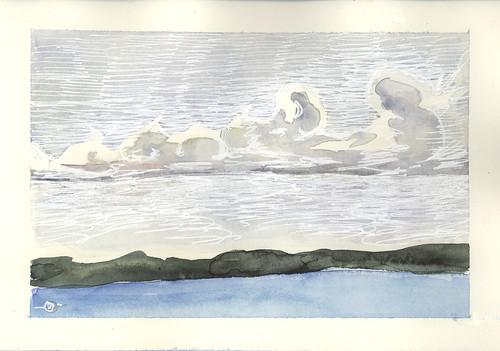 seascape clouds watercolor landscape maine jonesport downeastmaine whitegelpen marciamilnerbrage
