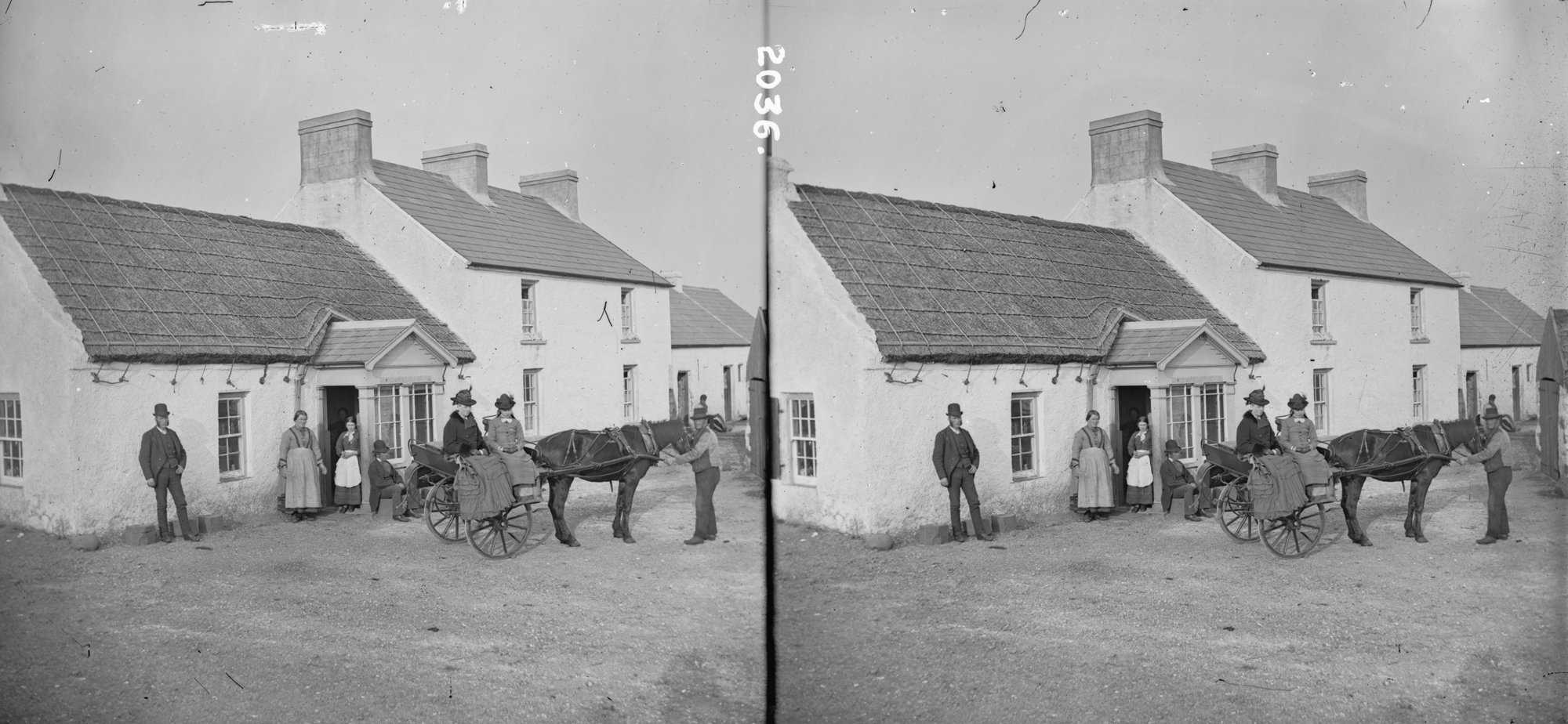 Cottage with fine tied down, thatch, F Kane, licensed tobacco dealer, outside car, people