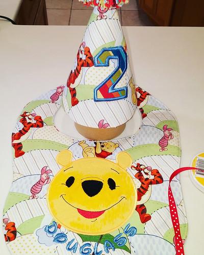 Winnie the Pooh Birthday hat & bib   by Stitchcottage