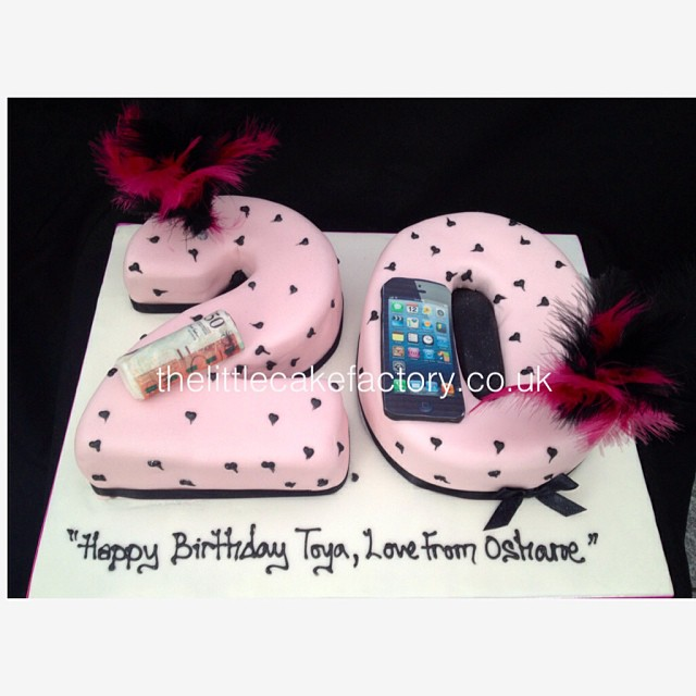 Brilliant 20Th Birthday Cake 20 Birthday Number Pink Black Fea Flickr Personalised Birthday Cards Veneteletsinfo