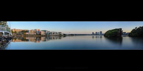 sky reflection water sunrise australia newsouthwales homebush nd09 wentworthpoint ssayrfield
