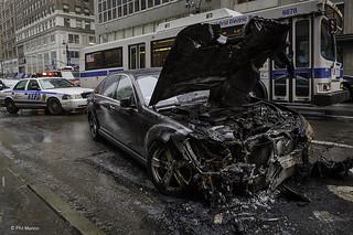 Burnt Mercedes on Park Avenue - Manhattan   by Phil Marion