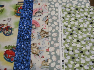 Fabrics from Linda (She'll use 10 of these 12)