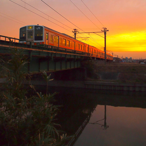 sunset train jr 夕陽 鉄道
