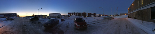 sunset panorama snow canada cars ice frozen parkinglot quebec québec bluehour industrialpark laval leavingwork c365 2inter cold2015