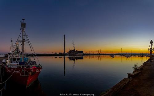 blue panorama orange water sunrise reflections outdoor australia adelaide fishingboats southaustralia powerstation portriver torrensisland