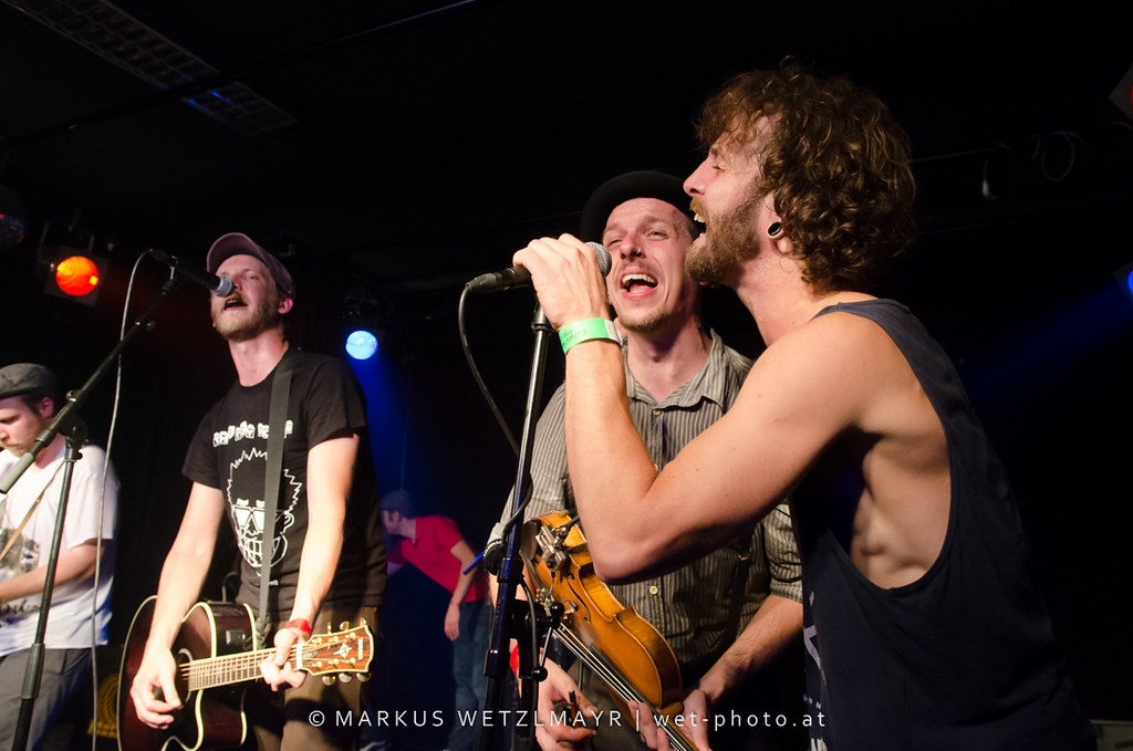 """Austrian Acoustic Folk Punk Rock band WHAM BAM BODYSLAM performing live as support act for US Punk Rock band SWINGIN' UTTERS at OKH, Vöcklabruck, Austria on July 07, 2013.  NO USE WITHOUT PRIOR WRITTEN PERMISSION.  © Markus Wetzlmayr 