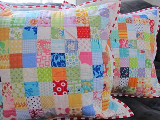Scrappy Postage Stamp Pillows | by Annamal Quilts