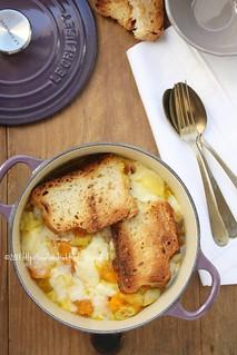 Ricetta Zuppa Zucca Patate E Porri.Zuppa Gratinata Di Zucca Patate E Porri Recipe C Unafines Flickr