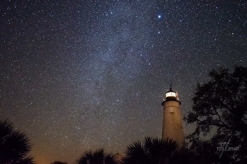 lighthouse night stars unitedstates florida nightsky february stmarks milkyway stmarksnationalwildliferefuge