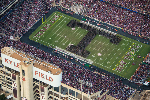Aerial Photo of the 2013-2014 Texas A&M Corps of Cadets Block T