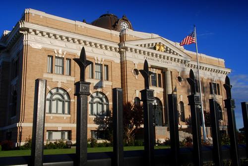 county usa west architecture america sunrise court franklin washington gate pacific northwest flag north northamerica wa courthouse eastern