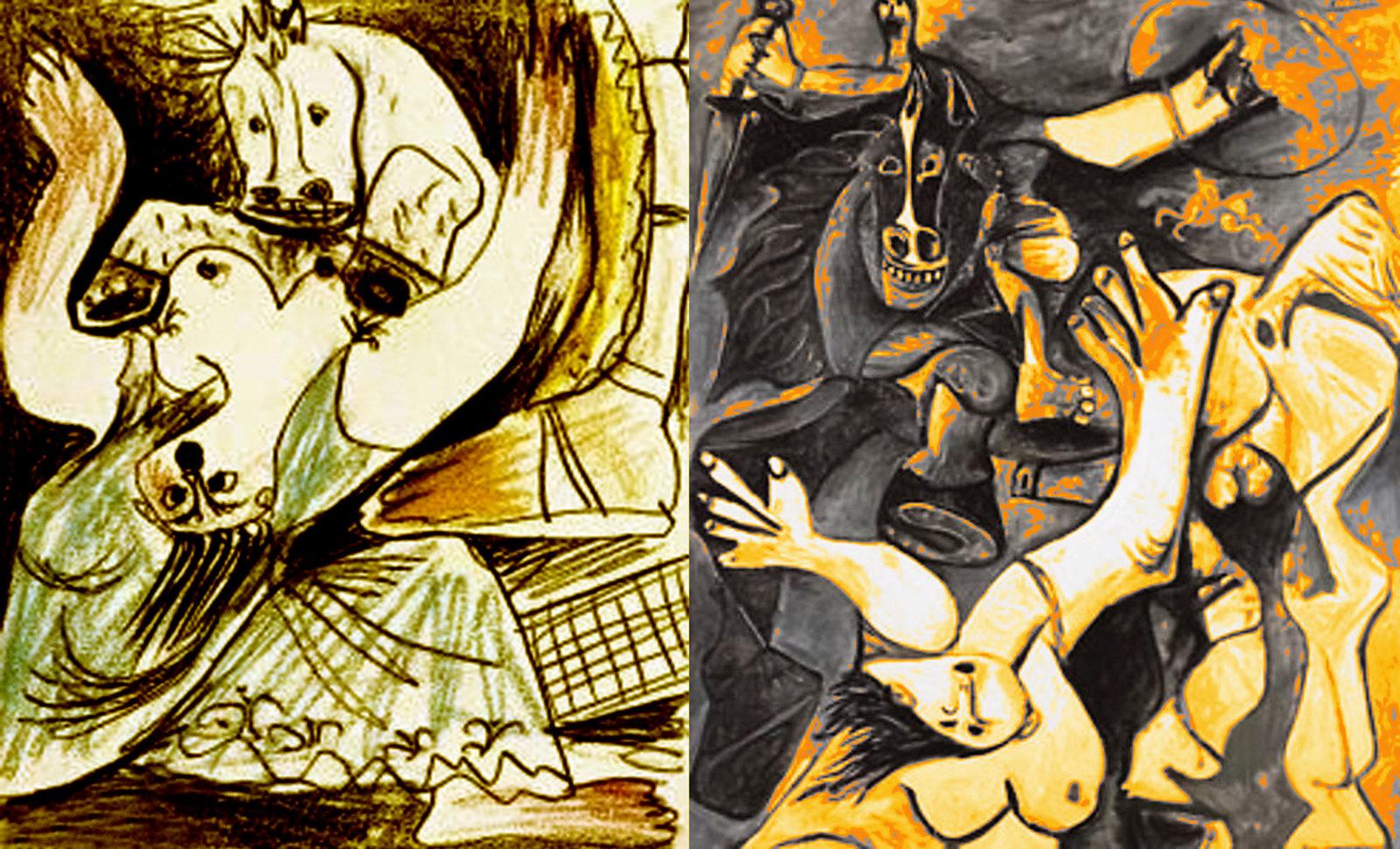 Rapto de las Sabinas, escenificación de Nicolas Poussin (1635), ambientación y encuadres de Pablo Picasso (1950).