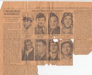 Uncle Samuel (Santo) in World War II Philadelphia Evening Bulletin Article, September 13,  1943