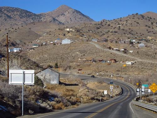 road mountain landscape highway scenery desert nevada roadtrip smalltown miningtown silvercity comstocklode fadingamerica