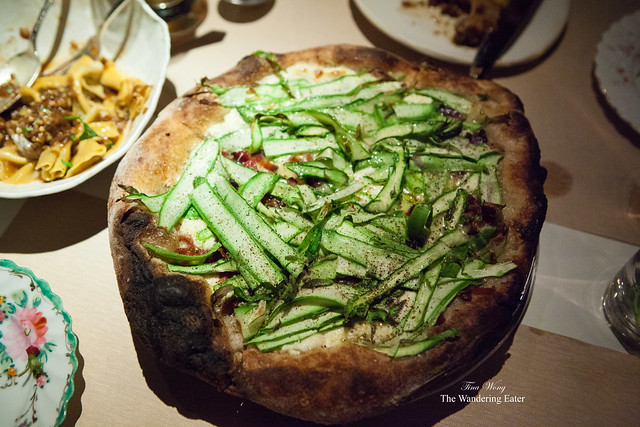 Asparagus, bacon, ricotta, parmesan pizza