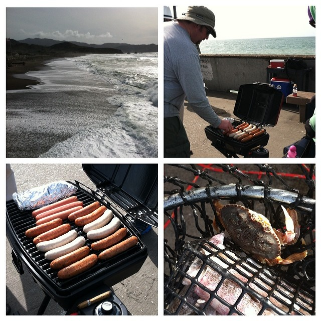 #kvpinmybelly - Grilling sausages & crabbing in #pacifica. Good times! Park ranger told my buddies that propane grills were allowed on the pier. She fined another group for using charcoal.