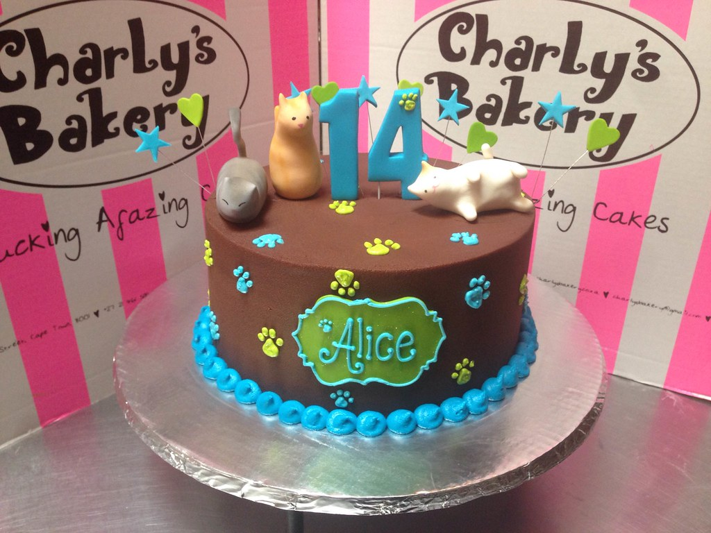 Pleasant Single Tier Kitty Themed Birthday Cake With 3D Simple Cat Flickr Funny Birthday Cards Online Hetedamsfinfo